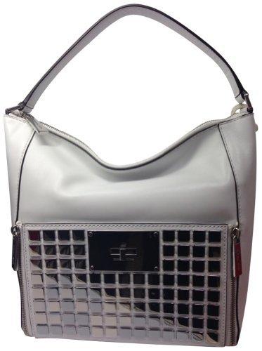 Michael Kors Genuine Leather Natalia Tile Medium Shoulder Bag White
