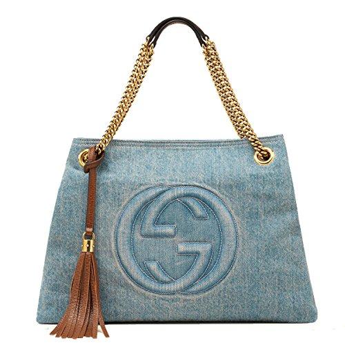 Gucci Soho Blue Denim Large Chain Strap Shoulder Bag
