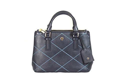 TORY BURCH Robinson Stitched Micro Double-Zip Tote Bag Tory Navy Comet