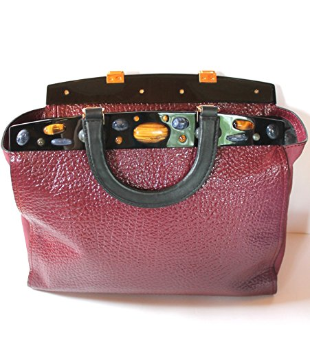 Tory Burch Attersee Patent Satchel Bordeaux Dark Plum
