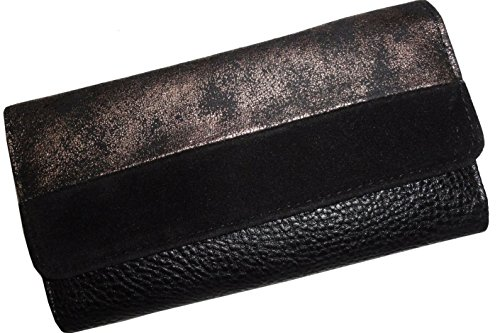 Jessica Simpson Daisy Aria Metallic Pewter and Black Velvet Clutch