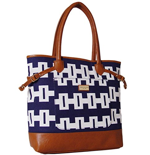 Tommy Hilfiger 6925317 467 Navy/White/Brown Large Tote Handbag