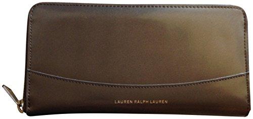 Lauren Ralph Lauren Winford Genuine Leather Zip Wallet Metal Grey