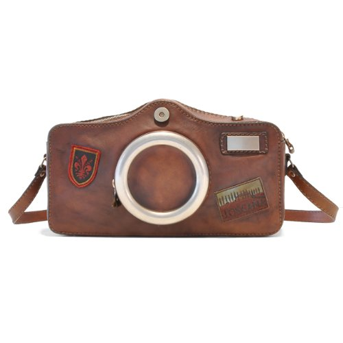 Pratesi Italian Leather Photocamera – Shoulder Bag, Brown