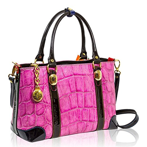 Marino Orlandi Italian Designer Pink Croc Leather Large Tote Crossbody Bag 4f3443901cc80