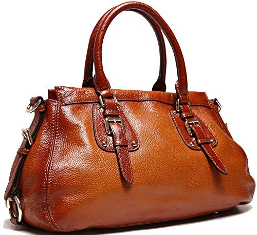 Heshe Cowhide Soft Genuine Leather Zippered Top-handle Tote Shoulder Bag Cross Body Purse Luxury Hobo Travelling Business Handbag for Women