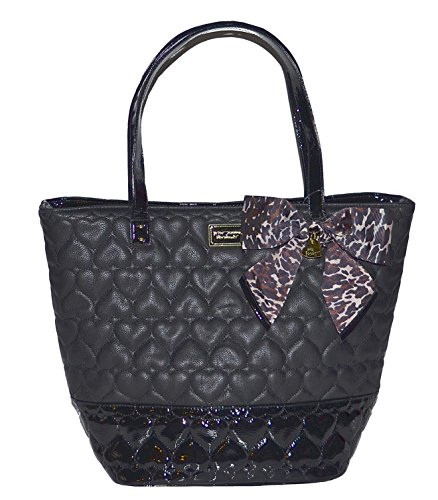 Betsey Johnson 2 Tone Quilted Heart Tote Purse Bag Handbag Be Mine Putty