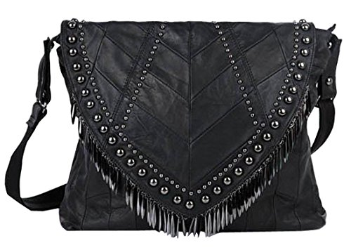 Heshe Soft Ladies' Genuine Leather Sheepskin New Punk Simple Style Retro Tassels Rivets Flakes Shoulder Crossbody Bag Motorcycle Bag Satchel Purse Women's Handbag Hot Sell