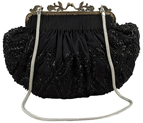 MyBatua Women's Evening & Party Antique Brass Frame Handbag ACB923NBK in Black