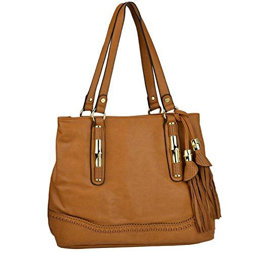 MG Collection DANI Boho Style Fringe Shoulder Office Tote Hobo Bag – Caramel