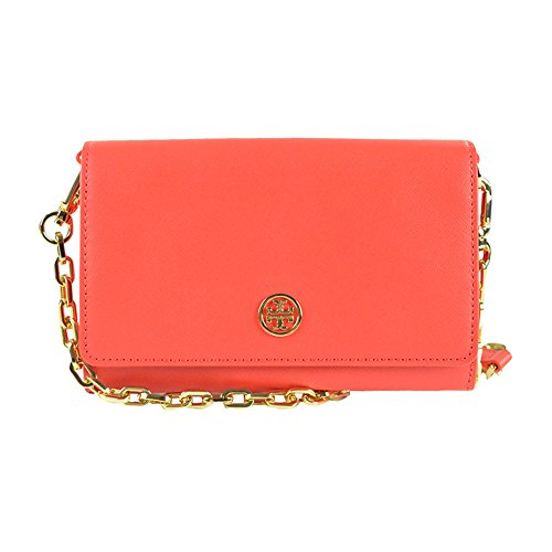 Tory Burch Robinson Chain Clutch Wallet Poppy Coral