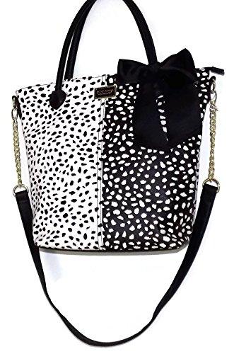 Betsey Johnson Alabaster White Black Large Shoulder Handbag Face Tote