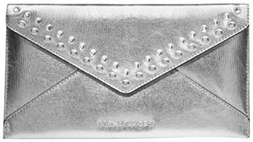 Michael Kors Jet Set Travel Jewel Large Envelope Clutch Genuine Leather Silver