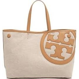 Tory Burch Lonnie Canvas Tote – Natural/Vachetta