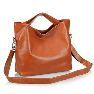 Ilishop Women's Brown Tote Handbag Genuine Leather Shoulder Bag NB060-brown