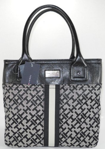 Tommy Hilfiger Black-Taupe Handbag SM Tommy Shoulder Tote Bag