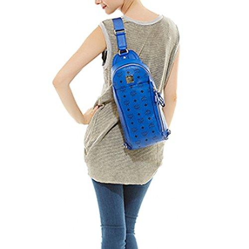 MCM MML4AVE34LM Stark Sling Bag Leather Bag Chest Bag Shoulder Bag Mazarine Blue