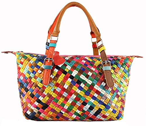 Heshe® Women's New Fashion Soft Genuine Leather Grid Multi-color Stitching Splicing Black Tote Bag Hobo Cross-body Bag Shoulder Bag Handbag Hobo Bag Personality Simple for Ladies