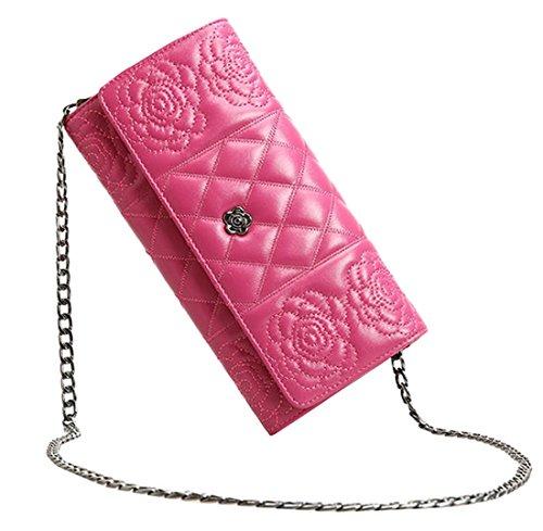 Heshe New Office Lady Genuine Leather Ling & Rose Pattern Clutch Organizer Link-chain Purse Shoulder Crossbody Bag Satchel Purse Handbag for Women