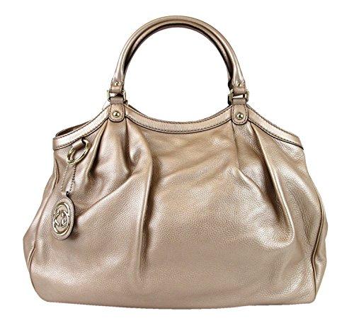 Gucci Metallic Antique Rose Large Sukey Leather Handbag Tote Bag 211943