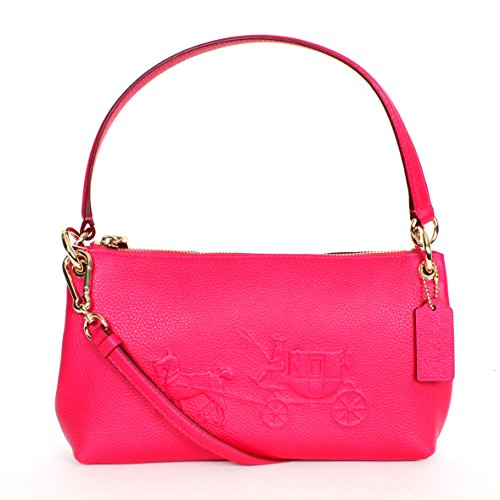 Coach 33521 Embossed Horse Carriage Charley Crossbody Bag Pink Ruby