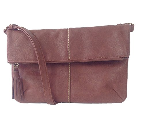 Lucky Brand Del Rey E/W Fold-over Convertible Crossbody, Dark Brown