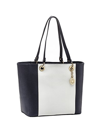 Tommy Hilfiger Women's Stripe Pebble Grain Leather Tote Nvy/White 17.5″ L x 7″H x 12″W