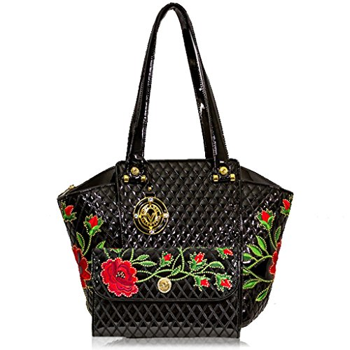 Valentino Orlandi Italian Designer Black Quilted Leather Tote w/Roses & Wallet Set