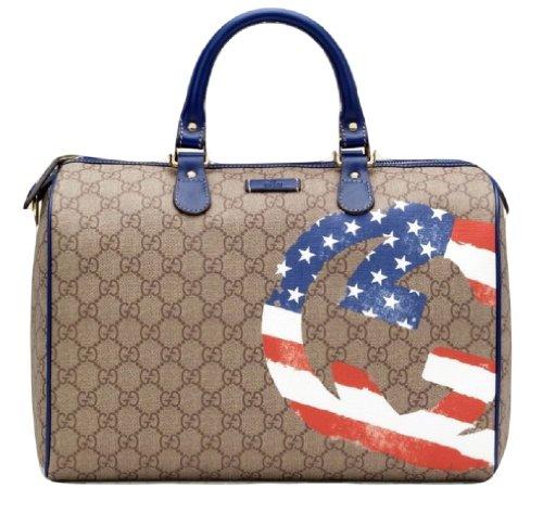 Gucci Beige GG-plus Canvas UNICEF American Flag GG Flag Boston Bag