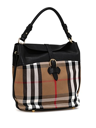 Burberry Woman's Black Leather Housecheck Check Medium Hobo Handbag
