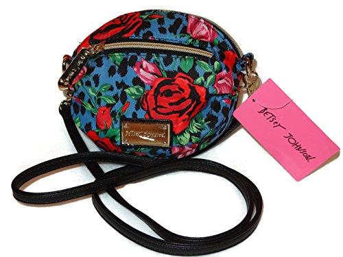 Betsey Johnson Mini Crossbody Handbag Purse, Red Rose and Blue Cheetah