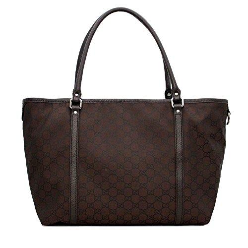 Gucci Women's Dark Brown Canvas Leather Trimmed Guccissima GG Print Tote 265695