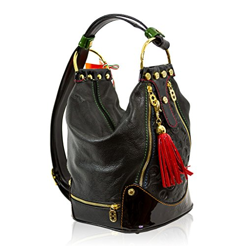 Marino Orlandi Italian Designer Black Leather Oversized Purse Sling Bucket Bag