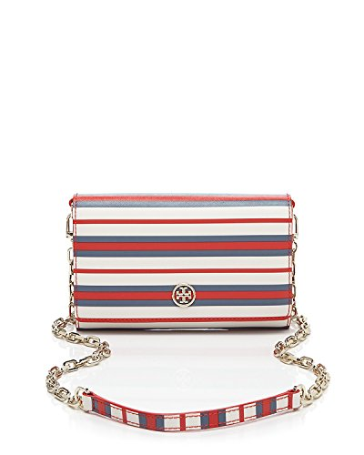 Tory Burch Crossbody Robinson Stripe Wallet on a Chain Comet Red Blue White Handbag Bag New