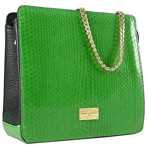 Green/Black Exotic Luxury Python Leather Small Clutch Bag by Carbotti