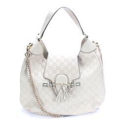 Gucci Emily Guccissima Storm Grey Leather Hobo Handbag Bag New