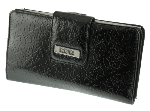Kenneth Cole Reaction Women's PVC Utility Clutch Monogram Style with Kiss Lock Sale Price !