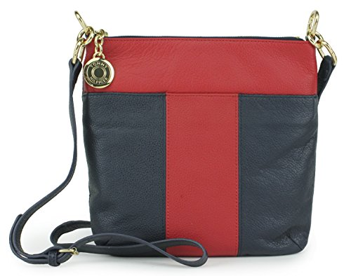 Tommy Hilfiger Signature T Pebbled Leather Crossbody Bag, Navy Red