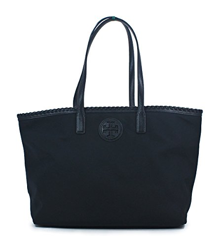 Tory Burch Black Marion Nylon East West Tote Handbag Shoulder Bag Purse