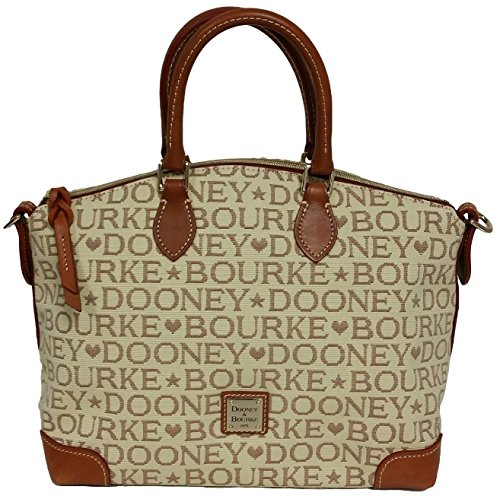 Dooney & Bourke Khaki Brown Signature Satchel with Long Leather Strap