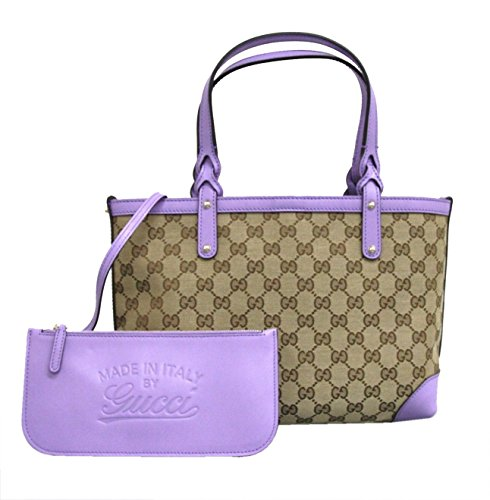 Gucci Beige Craft Canvas Handbag with Lilac Leather Trim 269878 8519