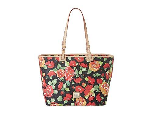 Dooney & Bourke Women's Coated Cotton Rose Garden Leisure Shopper Black w/ Nat Trim