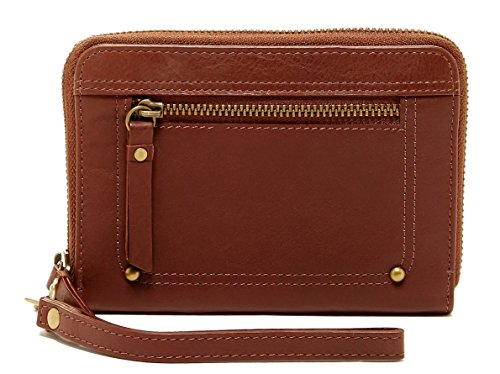Lucky Brand Lena Zip Around Wallet Wristlet Brandy