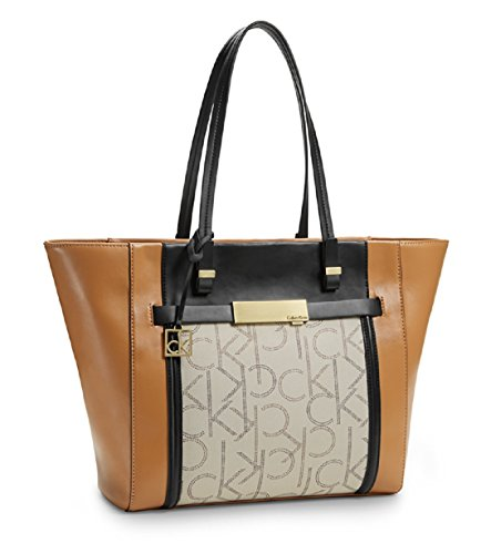 Calvin Klein Womens Addie Traveler Tote Bag Handbag (Sepia)