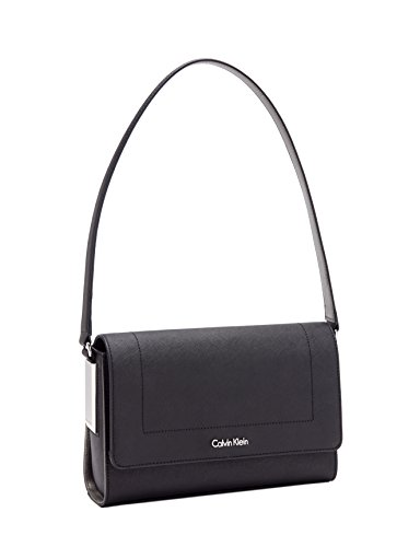 Calvin Klein Women's Sanremo Saffiano Leather Shoulder Bag Blk/Gunmetal 10″H x 6.75″L x 3″W