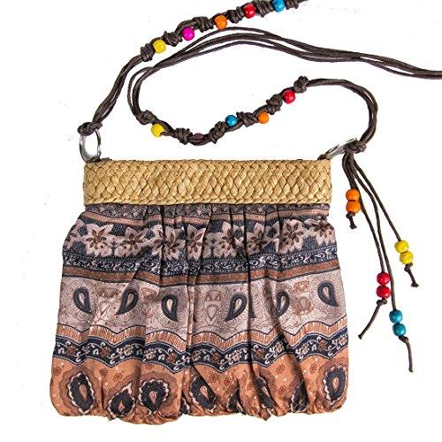 Tosca Small Print Handbag Beaded Crossbody Strap Tan Paisley