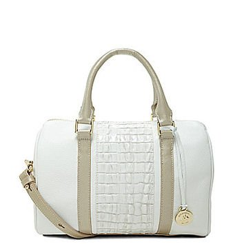 Brahmin Ginny Leather Satchel Macaroon Lady Vineyard