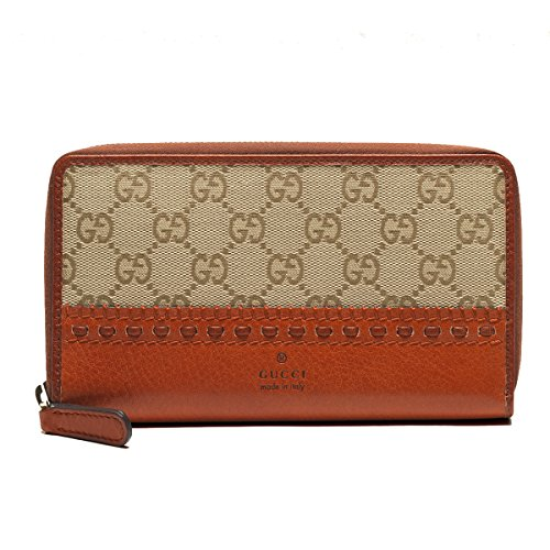 Gucci Laidback Crafty Orginial GG Canvas Zip Around Wallet Burnt Orange 338580 KH1GT 9685