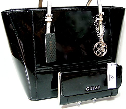 New Guess Purse Tote Hand Bag & Checkbook Wallet 2 Piece Matching Set Patent Black