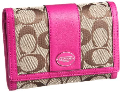 Coach Legacy Signature Compact Clutch Wallet 48465 Khaki/Bright Magenta